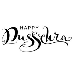 Happy dussehra ornate lettering text greeting card vector