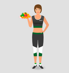 healthy food for a diet athlete woman hold a tray vector image