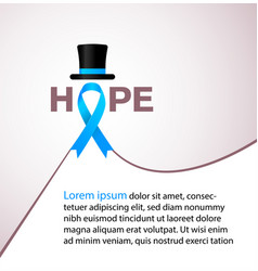 Hope blue ribbon symbolic for prostate cancer vector