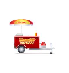 hot dog cart street fast food market trolley vector image
