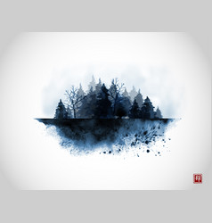 Ink wash painting with blue misty wild forest on vector