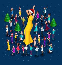 isometrics people celebrate christmas party vector image