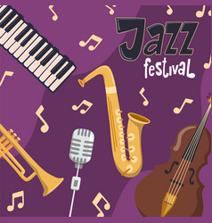 jazz festival poster cartoon music instrument vector image