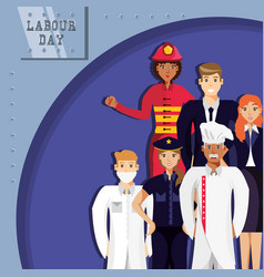 Labour day celebration with group professionals vector