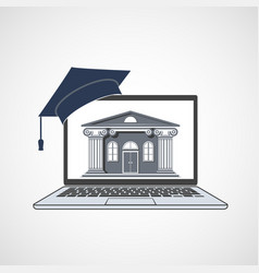 Laptop with university building on screen vector