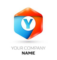 Letter y logo symbol in colorful hexagonal vector