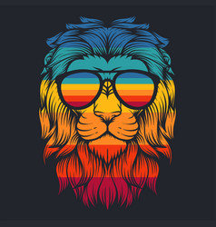 lion cool retro eyeglasses vector image