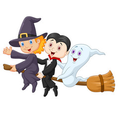 little children and ghost fly with broom on isolat vector image