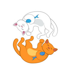 logo with two red and white cats forming circle vector image