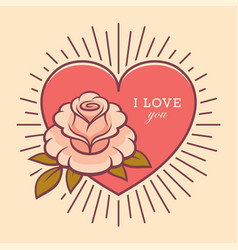 love you retro card with rose flower vector image
