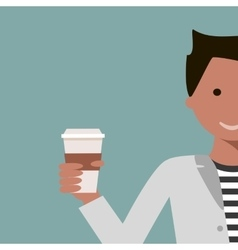 Man Drinking Coffee or Tea vector image