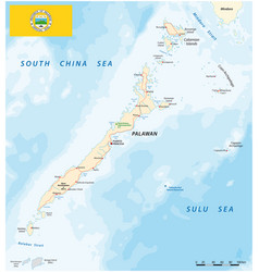 map west philippine island palawan with flag vector image