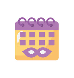 Mardi gras celebration mask in calendar reminder vector