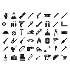 Masonry worker tools icon set simple style vector