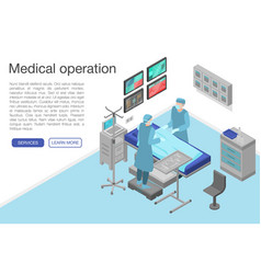 Medical operation concept banner isometric style vector