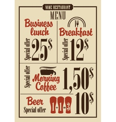 Menu prices vector image vector image