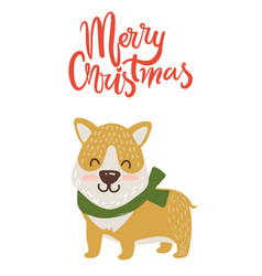 Merry christmas poster congratulation from dog vector