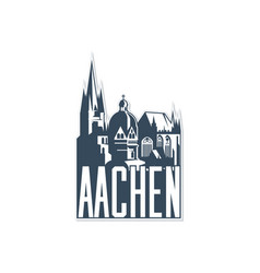 monochrome badge icon aachen city on white vector image