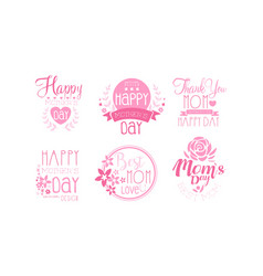 mother day greeting labeles and logos set vector image