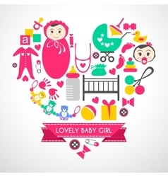 Newborn baby girl icons set vector
