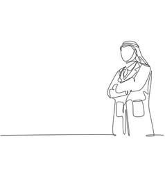 One single line drawing young muslim arabian vector
