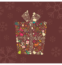 Ornamental Christmas gift box with reindeer vector
