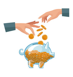 People pair hands depositing coins in a money vector