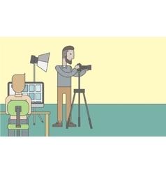 Photographers in studio vector