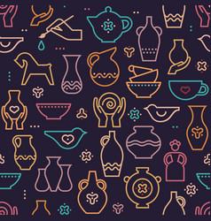 pottery seamless pattern - ceramics pottery vector image