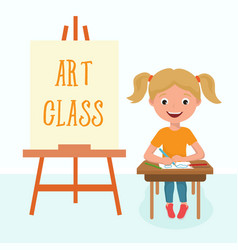 pre-school girl sitting in art class back to vector image