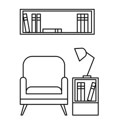 Reading armchair icon outline style vector