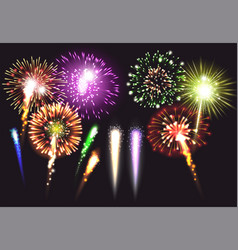 realistic fireworks icon set vector image