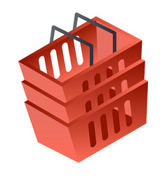Red shop basket icon isometric style vector