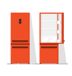 Refrigerator empty flat vector