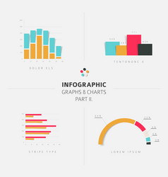 Set flat design infographic charts and graphs 2 vector