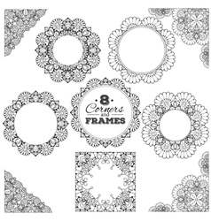 Set lace frames and corners with transparent vector