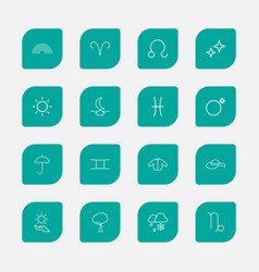 set of 16 editable climate outline icons includes vector image