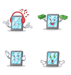 Set of tablet character with listening music money vector