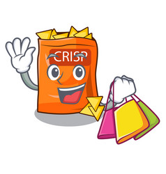 Shopping crispy potato chips in bowl cartoon vector
