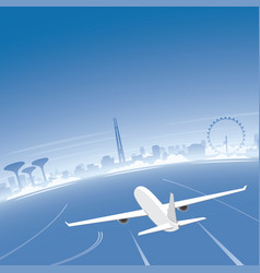 Singapore skyline flight destination vector