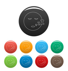 sleep smile icons color set vector image