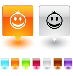 Smiley square button vector