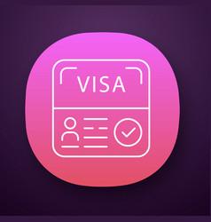 Start up visa app icon residence permit travel vector