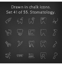 Stomatology icon set drawn in chalk vector