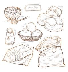 Sweet pastries - cream puffs recipe set of vector