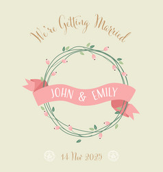 sweet retro wedding invitation card eps10 vector image