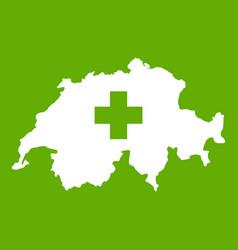 Switzerland map icon green vector