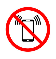 the use of a mobile phone is prohibited vector image