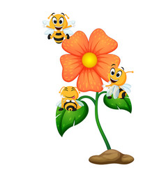 Three bees flying over some flowers vector