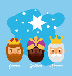 Three wise men bringing gifts to christ star night vector